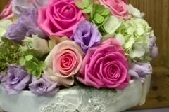 Brautstrauß violett-rosa-grün